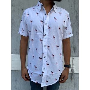d3fc3000 Flamingo Print Dirty Laundry Button-up